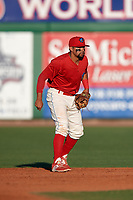 Clearwater Threshers second baseman Drew Stankiewicz (15) during a game against the Dunedin Blue Jays on April 7, 2017 at Spectrum Field in Clearwater, Florida.  Dunedin defeated Clearwater 7-4.  (Mike Janes/Four Seam Images)