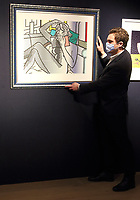 Roy Lichtenstein's Nude Reading, from Nude Series. Estimate: £60,000 - 80,000 at the Preview of Bonhams' Prints & Multiples sale. New Bond Street, London on Thursday December 10th 2020<br /> <br /> Photo by Keith Mayhew