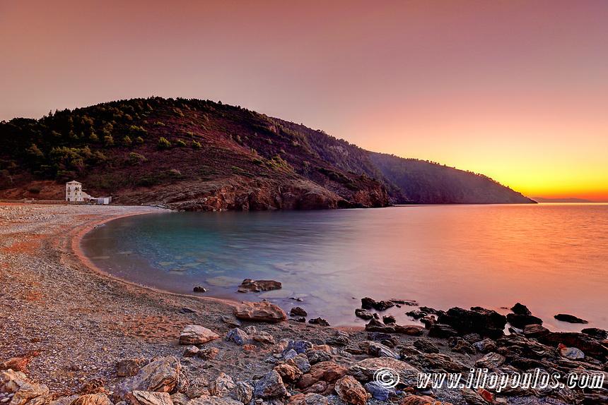 The sunset at the beach Tsoukalia of Alonissos island, Greece