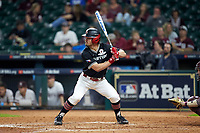 Landon Etzel (7) of the Houston Cougars pinch hits in the top of the seventh inning during the game against the Mississippi State Bulldogs in game six of the 2018 Shriners Hospitals for Children College Classic at Minute Maid Park on March 3, 2018 in Houston, Texas. The Bulldogs defeated the Cougars 3-2 in 12 innings. (Brian Westerholt/Four Seam Images)