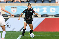 BRIDGEVIEW, IL - JULY 18: Katie Johnson #33 of the Chicago Red Stars dribbles the ball during a game between OL Reign and Chicago Red Stars at SeatGeek Stadium on July 18, 2021 in Bridgeview, Illinois.