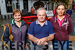Geraldine Riordan with Barry and Sinead Perfect from Ardfert at the Ardfert Tractor Run fundraiser for the staff of UHK on Sunday.