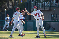 STANFORD, CA - MAY 27: Brendan Beck, Jacob Palisch during a game between Oregon State University and Stanford Baseball at Sunken Diamond on May 27, 2021 in Stanford, California.