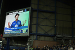 Everton 0 West Bromwich Albion 0, 19/01/2015. Goodison Park, Premier League. A film of Hollywood actor Sylvester Stallone giving a message to home fans on one of the electronic screens at Goodison Park, Liverpool at half-time during the Premier League match between Everton and West Bromwich Albion. The match ended in a 0-0 draw, despite the home team missing a first-half penalty by Kevin Mirallas. The game was watched by 34,739 spectators and left both teams languishing near the relegation zone. Photo by Colin McPherson.