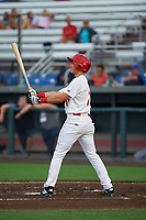 Auburn Doubledays Jeremy Ydens (17) at bat during a NY-Penn League game against the Connecticut Tigers on July 12, 2019 at Falcon Park in Auburn, New York.  Auburn defeated Connecticut 7-5.  (Mike Janes/Four Seam Images)