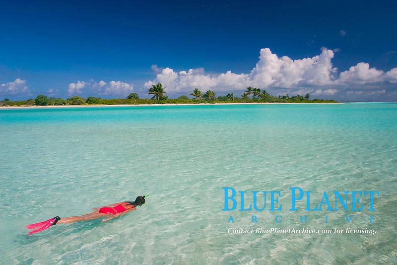snorkeler explores lagoon in front of Paris, Christmas (Kiritimati) Island, Line Islands, Republic of Kiribati (do)