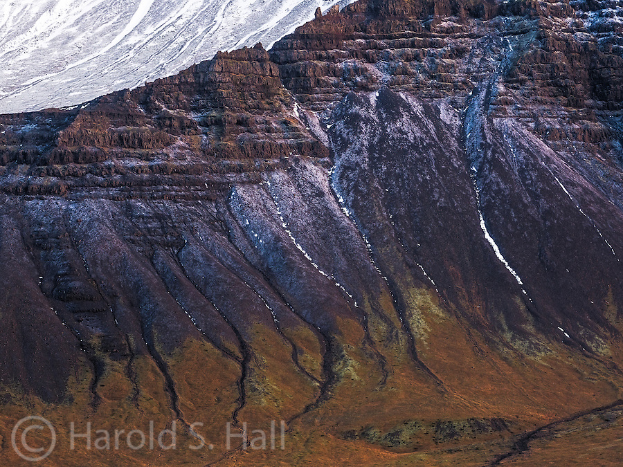 I'm often drawn to the details of a scene, rather than the grand landscape.  Here, the erosion in the mountain resulted in an interesting abstract type design.