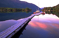 Dawn is reflected on Chilco Lake. Canadian landscape. British Columbia (BC), Canada.