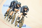 The team of of New Zealand with Pieter Bulling, Began Gough, Dylan Kennett and Nicholas Kergozou competes in Men's Team Pursuit 1st Round match as part of the 2017 UCI Track Cycling World Championships on 12 April 2017, in Hong Kong Velodrome, Hong Kong, China. Photo by Victor Fraile / Power Sport Images