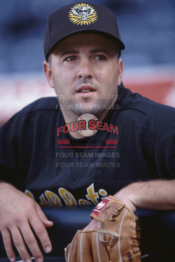 Corey Lidle of the Oakland Athletics during a 2001 season MLB game at Angel Stadium in Anaheim, California. (Larry Goren/Four Seam Images)