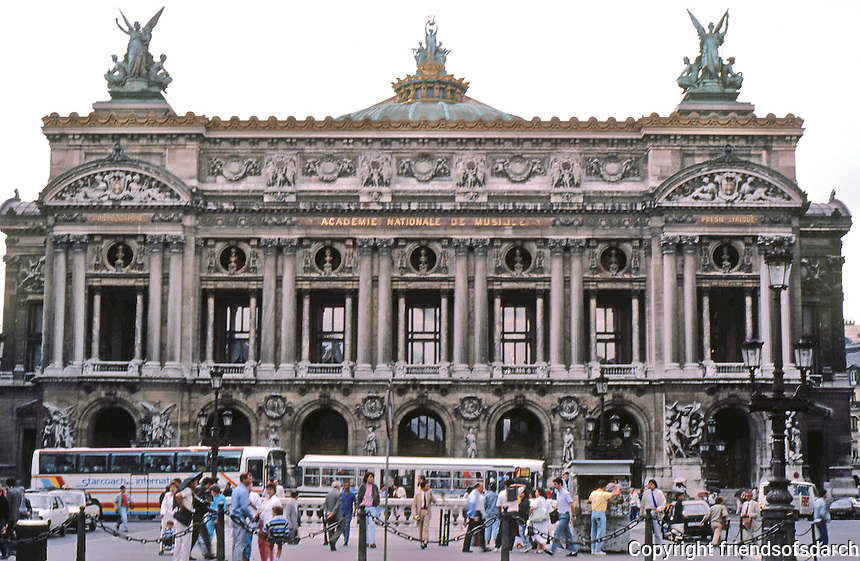 """Paris: The Opera--main facade overlooking Place de L'Opera, 1849-1875. Architect Charles Garnier. """"The most successful monument of the Second Empire."""