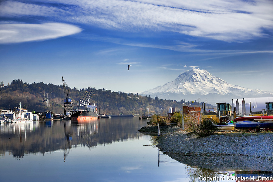 Scrap steel is loaded for export in the shadow of Mt .Rainier.  Commencement Bay's history of industry and shipping has led it to designation as a Superfund Cleanup Site and one of the most polluted waterways in the nation.  Commencement Bay Nearshore/Tideflats (CB/NT) Superfund Site.