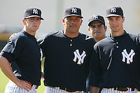 March 17th 2008:  Eric Hacker, Alfredo Aceves, Edgar Soto and Michael Solbach of the New York Yankees minor league system during Spring Training at Legends Field Complex in Tampa, FL.  Photo by:  Mike Janes/Four Seam Images