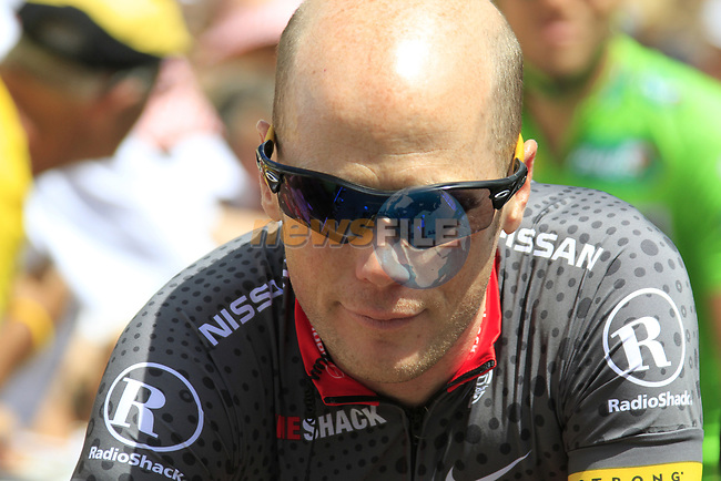 Chris Horner (USA) Team Radioshack arrives at sign on before the start of Stage 18 of the 2010 Tour de France running 198km from Salies-de-Bearn to Bordeaux, France. 23rd July 2010.<br /> (Photo by Eoin Clarke/NEWSFILE).<br /> All photos usage must carry mandatory copyright credit (© NEWSFILE   Eoin Clarke)
