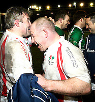 Photo: Richard Lane/Richard Lane Photography. England Legends v Ireland Legends. The Stuart Mangan Memorial Cup. 26/02/2010. Jason Leonard and Richard Cockerill.