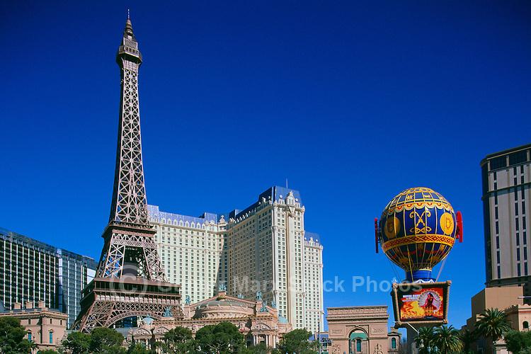Las Vegas, Nevada, USA - Paris Las Vegas Hotel and Casino on The Strip, with Eiffel Tower, Arc de Triomphe, and Montgolfier Balloon Replicas
