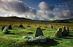 "Nine Stones stone circle, Near  Belstone Tor,  Dartmoor, Devon, England.Bronze Age. Also know as the ""Nine Maidens"""