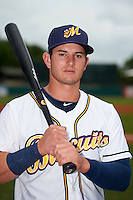 Montgomery Biscuits designated hitter Daniel Robertson (4) poses for a photo before a game against the Tennessee Smokies on May 25, 2015 at Riverwalk Stadium in Montgomery, Alabama.  Tennessee defeated Montgomery 6-3 as the game was called after eight innings due to rain.  (Mike Janes/Four Seam Images)