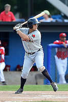 Connecticut Tigers outfielder Ross Kivett (55) at bat during the second game of a doubleheader against the Batavia Muckdogs on July 20, 2014 at Dwyer Stadium in Batavia, New York.  Connecticut defeated Batavia 2-0.  (Mike Janes/Four Seam Images)