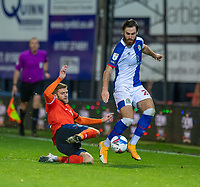 \Blackburn Rovers' Ben Brereton (right) is tackled by Luton Town's Martin Cranie (left) <br /> <br /> Photographer David Horton/CameraSport<br /> <br /> The EFL Sky Bet Championship - Luton Town v Blackburn Rovers - Saturday 21st November 2020 - Kenilworth Road - Luton<br /> <br /> World Copyright © 2020 CameraSport. All rights reserved. 43 Linden Ave. Countesthorpe. Leicester. England. LE8 5PG - Tel: +44 (0) 116 277 4147 - admin@camerasport.com - www.camerasport.com