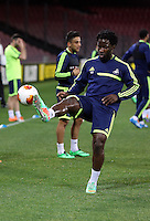 Wednesday 26 February 2014<br /> Pictured: Wilfried Bony in training.<br /> Re: Swansea City FC press conference and training at San Paolo in Naples Italy for their UEFA Europa League game against Napoli.