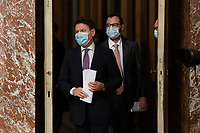 The Italian Premier Giuseppe Conte and the Minister of Conomic Development Stefano Patuanelli wearing a face mask during the press conference after the Minister's cabinet.<br /> Rome (Italy), October 28th 2020<br /> Photo Pool Augusto Casasoli Insidefoto