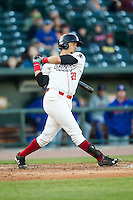 Great Lakes Loons third baseman Edwin Rios (28) follows through on his swing against the South Bend Cubs on May 18, 2016 at Dow Diamond in Midland, Michigan. Great Lakes defeated South Bend 5-4. (Andrew Woolley/Four Seam Images)