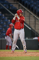 Marlon Marcano (8), of the AZL Angels, at bat during an Arizona League game against the AZL Padres 1 on August 5, 2019 at Tempe Diablo Stadium in Tempe, Arizona. AZL Padres 1 defeated the AZL Angels 5-0. (Zachary Lucy/Four Seam Images)