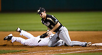 Angelo Cianfrocco (8) of the Purdue Boilermakers tries to field a pick-off attempt during a game against the Missouri State Bears at Hammons Field on March 13, 2012 in Springfield, Missouri. (David Welker / Four Seam Images)