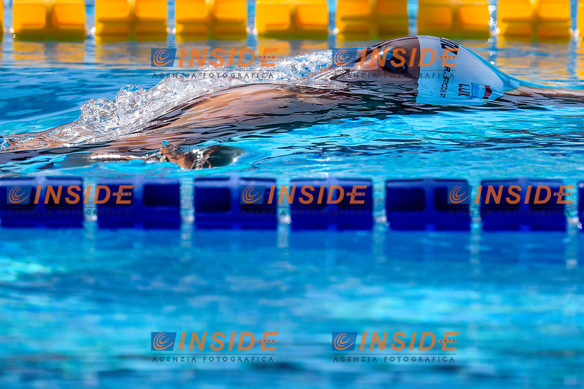 Raphael Stacchiotti of Luxemburg competes in the men 100m backstroke during the 58th Sette Colli Trophy International Swimming Championships at Foro Italico in Rome, June 25th, 2021. Raphael Stacchiotti placed 9th in his heat .