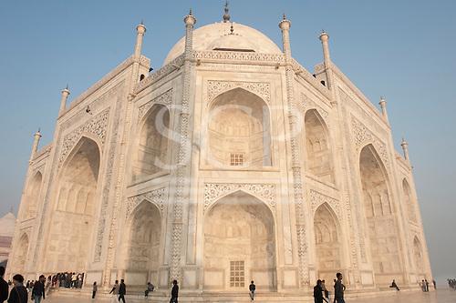 Agra, Uttar Pradesh, India. The Taj Mahal; main mausoleum from one corner with semi-precious stone inlay.