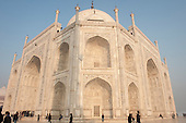 Agra, Uttar Pradesh, India. The Taj Mahal; main mausoleum from one corner with semi-precious stone inlay.