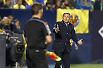 Villarreal CF's coach Fran Escriba have words with the referee line during La Liga match. December 3,2016. (ALTERPHOTOS/Acero)