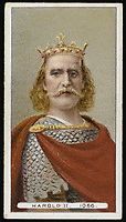 HAROLD II  King of England reigned for nine months in 1066 killed at Hastings / Unattributed design on a cigarette card / 1022 - 1066