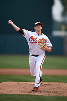 Baltimore Orioles relief pitcher Brad Brach (35) delivers a pitch during a Spring Training exhibition game against the Dominican Republic on March 7, 2017 at Ed Smith Stadium in Sarasota, Florida.  Baltimore defeated the Dominican Republic 5-4.  (Mike Janes/Four Seam Images)