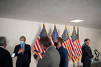 United States Senator Roy Blunt (Republican of Missouri), left, and US Senator Mike Rounds (Republican of South Dakota), right, field questions from reporters as he arrives for the GOP luncheon in the Hart Senate Office Building on Capitol Hill in Washington, DC., Tuesday, June 23, 2020. <br /> Credit: Rod Lamkey / CNP/AdMedia