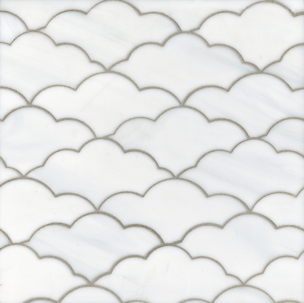 Clouds, a waterjet glass mosaic shown in Moonstone, is part of the Erin Adams Collection for New Ravenna.