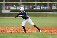 Adam Levins (15) of Palmetto, Florida during the Baseball Factory All-America Pre-Season Rookie Tournament, powered by Under Armour, on January 13, 2018 at Lake Myrtle Sports Complex in Auburndale, Florida.  (Michael Johnson/Four Seam Images)