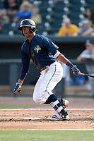 Second baseman Luis Carpio (18) of the Columbia Fireflies bats in a game against the Rome Braves on Sunday, July 2, 2017, at Spirit Communications Park in Columbia, South Carolina. Columbia won, 3-2. (Tom Priddy/Four Seam Images)