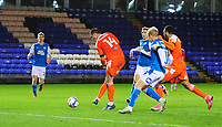 Blackpool's Gary Madine scores his side's second goal<br /> <br /> Photographer Chris Vaughan/CameraSport<br /> <br /> The EFL Sky Bet League One - Peterborough United v Blackpool - Saturday 21st November 2020 - London Road Stadium - Peterborough<br /> <br /> World Copyright © 2020 CameraSport. All rights reserved. 43 Linden Ave. Countesthorpe. Leicester. England. LE8 5PG - Tel: +44 (0) 116 277 4147 - admin@camerasport.com - www.camerasport.com