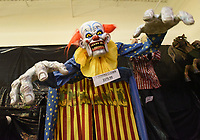 A frightening clown, seen Wednesday Oct. 6 2021 at Halloween Express, can be placed above a doorway. Go to nwaonline.com/211010Daily/ to see more photos.<br />(NWA Democrat-Gazette/Flip Putthoff)