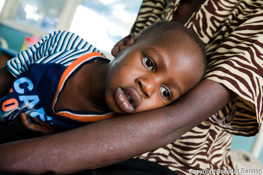 Henry just conscious after  a battle with Meningitus. Henry is  HIV postive and  a patient in the  Hospital at Homa Bay ,Kenya where MSF runs a clinic to treat HIV..