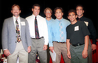 8 June 2000: (l to r) Head Wrestling Coach Chris Horpel, assistant coach Steve Buddie, and members of the wrestling team pose after the Senior Awards lunch.