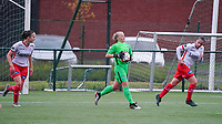 From left to right Essevee's Geena Lisa Buyle (13), Genk's goalkeeper Anouk Vereecke (12) and Essevee's Ulrike De Frere (7) pictured after a goal attempt during a female soccer game between the women teams of Zulte Waregem A Dames and KRC Genk Ladies B on the 1/16 th qualifying round for the Belgian Womens Cup 2020  2021 , on saturday 26 th of September 2020  in Zulte , Belgium . PHOTO SPORTPIX.BE | SPP | SEVIL OKTEM