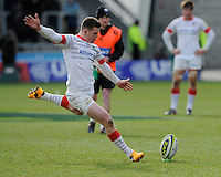 20130310 Copyright onEdition 2013©.Free for editorial use image, please credit: onEdition..Ben Spencer of Saracens takes a penalty kick during the LV= Cup semi final match between Sale Sharks and Saracens at the Salford City Stadium on Sunday 10th March 2013 (Photo by Rob Munro)..For press contacts contact: Sam Feasey at brandRapport on M: +44 (0)7717 757114 E: SFeasey@brand-rapport.com..If you require a higher resolution image or you have any other onEdition photographic enquiries, please contact onEdition on 0845 900 2 900 or email info@onEdition.com.This image is copyright onEdition 2013©..This image has been supplied by onEdition and must be credited onEdition. The author is asserting his full Moral rights in relation to the publication of this image. Rights for onward transmission of any image or file is not granted or implied. Changing or deleting Copyright information is illegal as specified in the Copyright, Design and Patents Act 1988. If you are in any way unsure of your right to publish this image please contact onEdition on 0845 900 2 900 or email info@onEdition.com