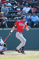 Riley Moore (6) of the Arizona Wildcats bats during a game against the UCLA Bruins at Jackie Robinson Stadium on May 16, 2015 in Los Angeles, California. UCLA defeated Arizona, 6-0. (Larry Goren/Four Seam Images)