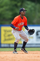 Greeneville Astros shortstop Osvaldo Duarte (2) on defense against the Kingsport Mets at Hunter Wright Stadium on July 7, 2015 in Kingsport, Tennessee.  The Mets defeated the Astros 6-4. (Brian Westerholt/Four Seam Images)