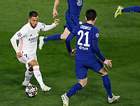 April 27th 2021; Alfredo Di Stefano Stadium, Madrid, Spain; UEFA Champions League. Eden Hazard takes on Ben Chilwell  during the Champions League match, semifinals between Real Madrid and Chelsea FC played at Alfredo Di Stefano Stadium
