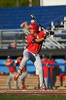 Williamsport Crosscutters first baseman Darick Hall (46) at bat during a game against the Batavia Muckdogs on September 1, 2016 at Dwyer Stadium in Batavia, New York.  Williamsport defeated Batavia 10-3. (Mike Janes/Four Seam Images)