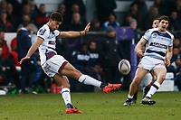 Ben Volavola of Bordeaux Begles clears the ball during the European Challenge Cup match between Dragons and Bordeaux Begles at Rodney Parade, Newport, Wales, UK. 20 January 2018